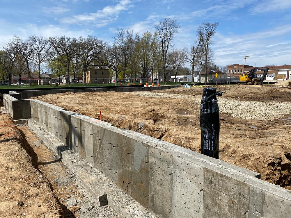 Concrete Contractor Green Bay WI Belleville Library Commercial Foam Wall Foundation